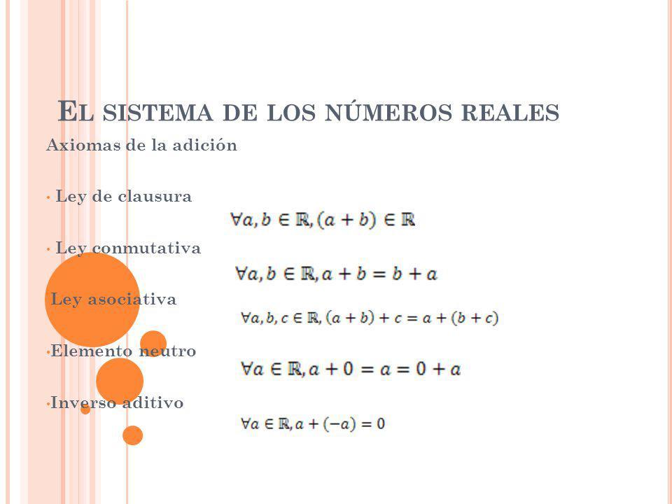 E L SISTEMA DE LOS NÚMEROS REALES Axiomas de la adición Ley de clausura Ley conmutativa Ley asociativa Elemento neutro Inverso aditivo