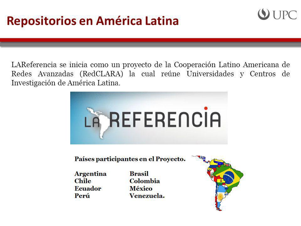 Repositorios en América Latina LAReferencia se inicia como un proyecto de la Cooperación Latino Americana de Redes Avanzadas (RedCLARA) la cual reúne Universidades y Centros de Investigación de América Latina.
