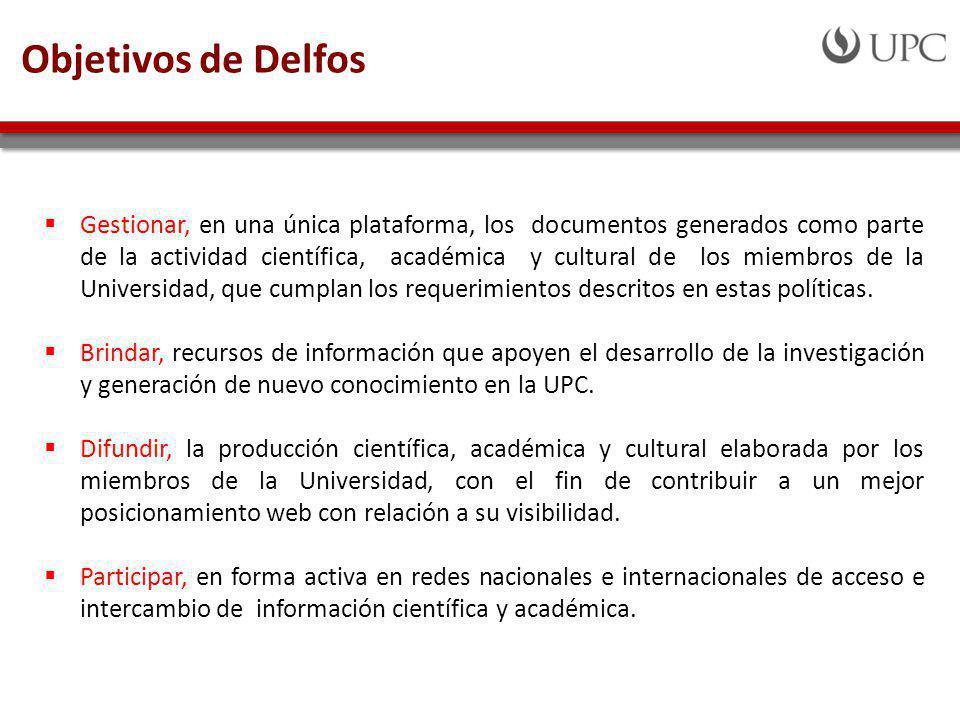Gestionar, en una única plataforma, los documentos generados como parte de la actividad científica, académica y cultural de los miembros de la Universidad, que cumplan los requerimientos descritos en estas políticas.