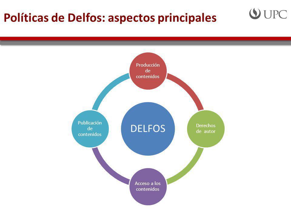 Políticas de Delfos: aspectos principales DELFOS Producción de contenidos Derechos de autor Acceso a los contenidos Publicación de contenidos