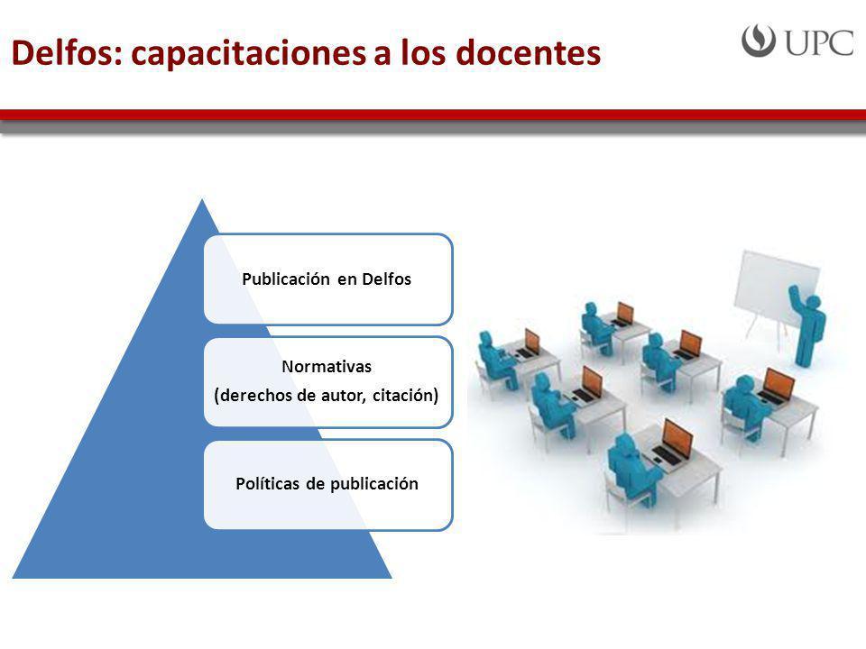 Delfos: capacitaciones a los docentes Publicación en Delfos Normativas (derechos de autor, citación) Políticas de publicación