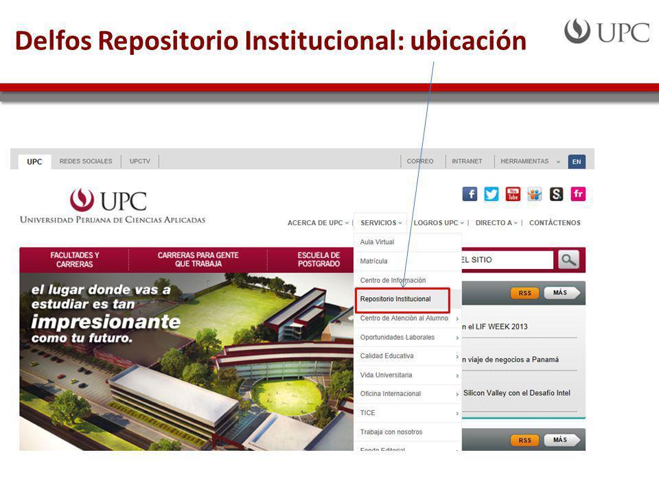 Delfos Repositorio Institucional: ubicación
