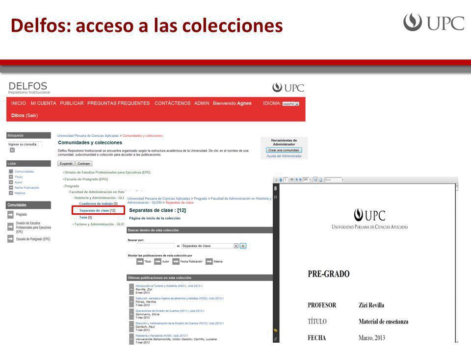 Delfos: acceso a las colecciones