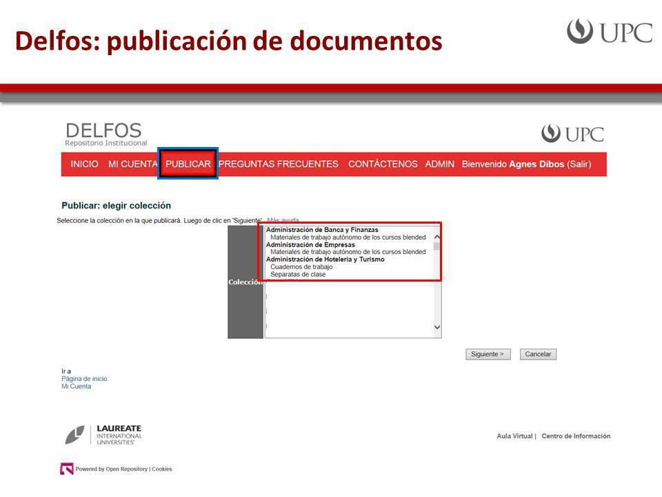 Delfos: publicación de documentos