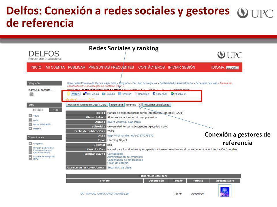Delfos: Conexión a redes sociales y gestores de referencia Redes Sociales y ranking Conexión a gestores de referencia