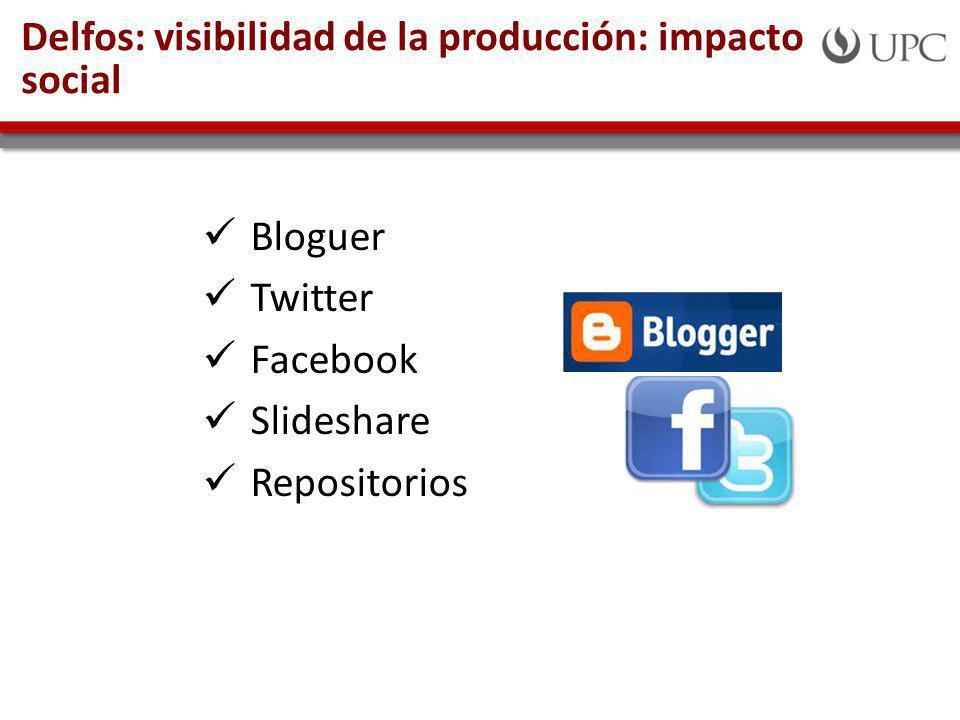 Delfos: visibilidad de la producción: impacto social Bloguer Twitter Facebook Slideshare Repositorios