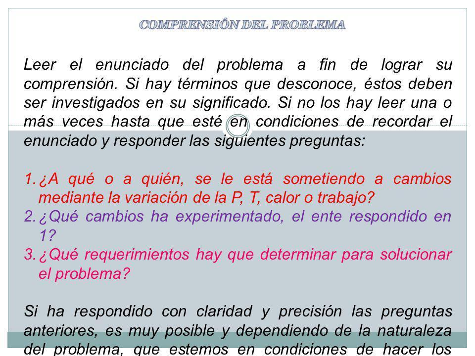 Leer el enunciado del problema a fin de lograr su comprensión. Si hay términos que desconoce, éstos deben ser investigados en su significado. Si no lo