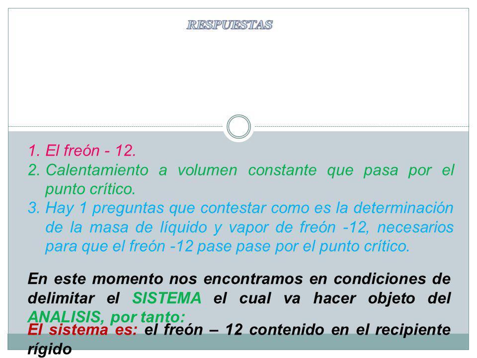 1.El freón - 12. 2.Calentamiento a volumen constante que pasa por el punto crítico. 3.Hay 1 preguntas que contestar como es la determinación de la mas
