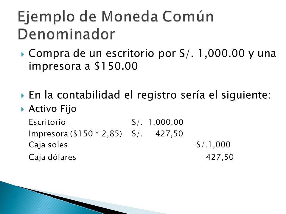 Compra de un escritorio por S/. 1,000.00 y una impresora a $150.00 En la contabilidad el registro sería el siguiente: Activo Fijo EscritorioS/. 1,000,