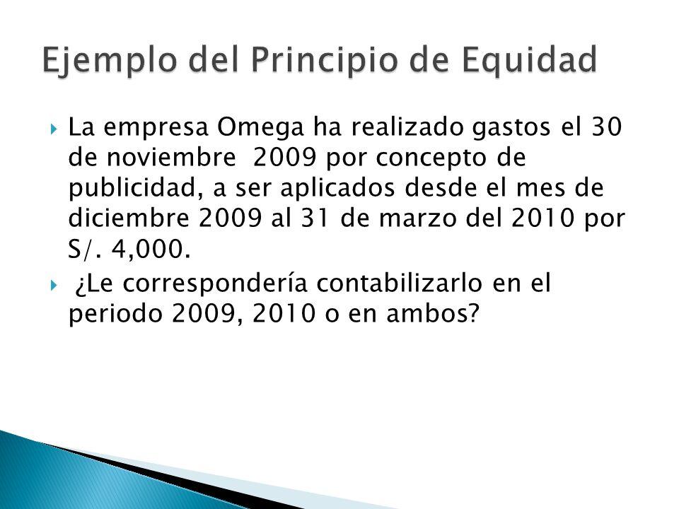 La empresa Omega ha realizado gastos el 30 de noviembre 2009 por concepto de publicidad, a ser aplicados desde el mes de diciembre 2009 al 31 de marzo