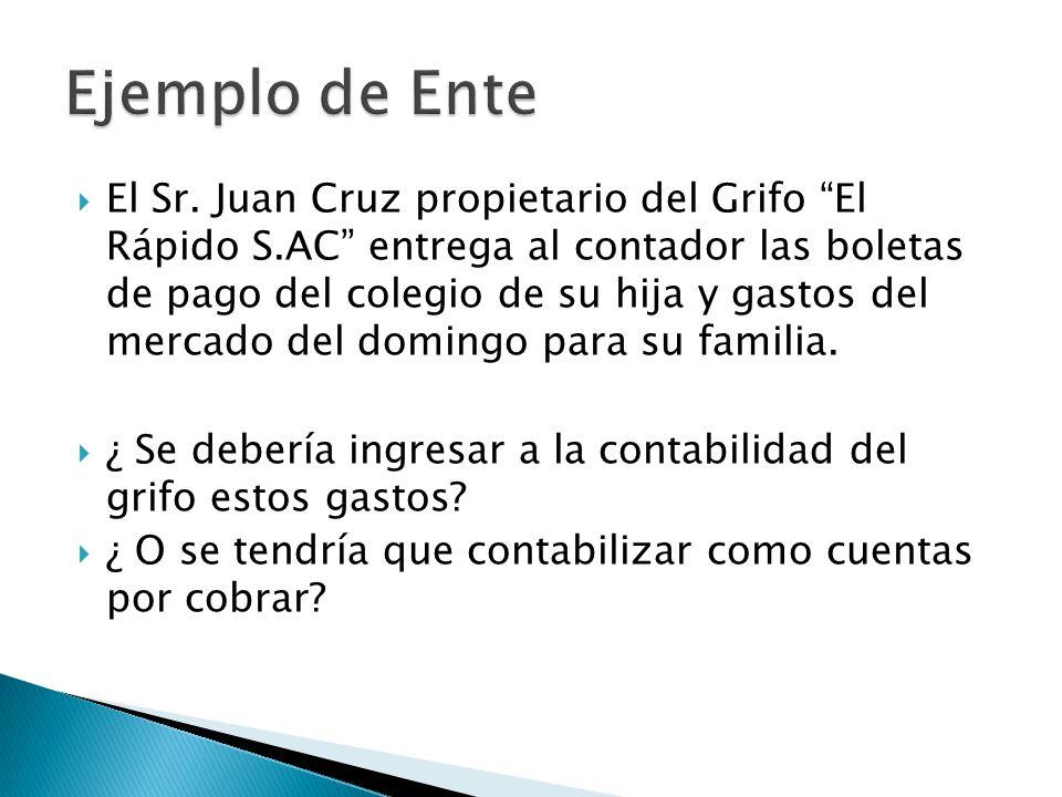 El Sr. Juan Cruz propietario del Grifo El Rápido S.AC entrega al contador las boletas de pago del colegio de su hija y gastos del mercado del domingo
