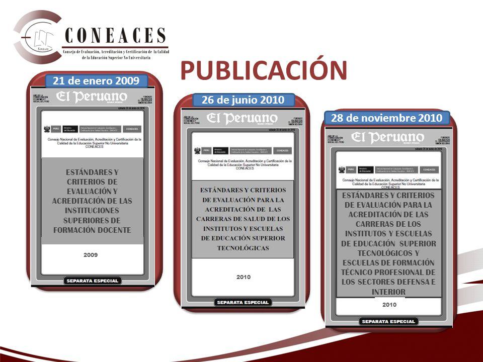 ESTÁNDARES Y CRITERIOS DE EVALUACIÓN Y ACREDITACIÓN DE LAS INSTITUCIONES SUPERIORES DE FORMACIÓN DOCENTE 2009 2010 26 de junio 2010 ESTÁNDARES Y CRITERIOS DE EVALUACIÓN PARA LA ACREDITACIÓN DE LAS CARRERAS DE LOS INSTITUTOS Y ESCUELAS DE EDUCACIÓN SUPERIOR TECNOLÓGICOS Y ESCUELAS DE FORMACIÓN TÉCNICO PROFESIONAL DE LOS SECTORES DEFENSA E INTERIOR 2010 28 de noviembre 2010 21 de enero 2009 PUBLICACIÓN