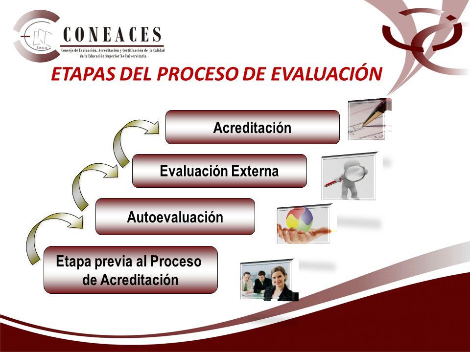 ETAPAS DEL PROCESO DE EVALUACIÓN Etapa previa al Proceso de Acreditación Autoevaluación Evaluación Externa Acreditación