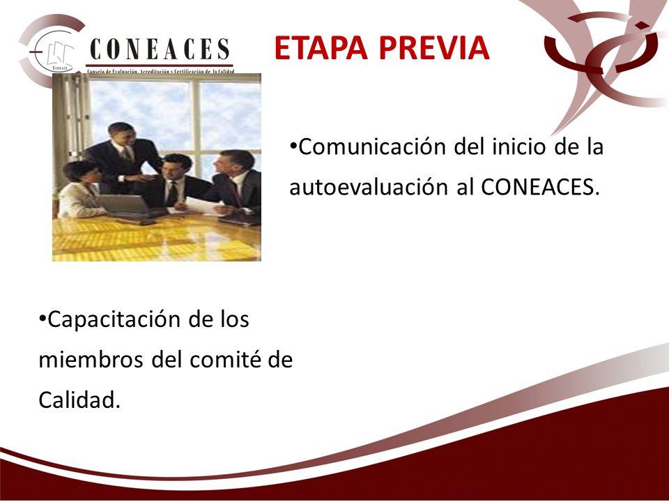 ETAPA PREVIA Capacitación de los miembros del comité de Calidad. Comunicación del inicio de la autoevaluación al CONEACES.