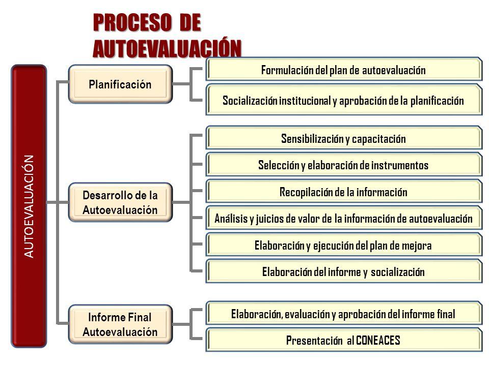 PROCESO DE AUTOEVALUACIÓN AUTOEVALUACIÓN Planificación Desarrollo de la Autoevaluación Informe Final Autoevaluación Formulación del plan de autoevalua