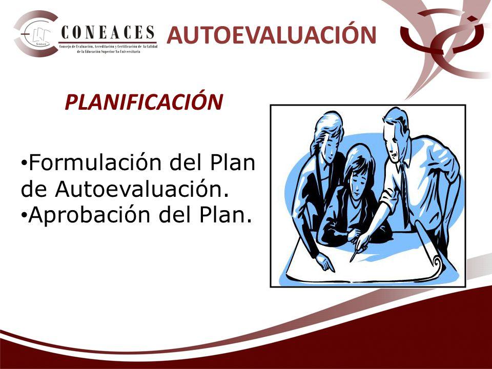 Formulación del Plan de Autoevaluación. Aprobación del Plan. AUTOEVALUACIÓN PLANIFICACIÓN