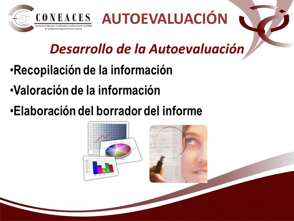 AUTOEVALUACIÓN Desarrollo de la Autoevaluación Recopilación de la información Valoración de la información Elaboración del borrador del informe