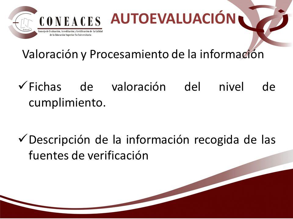 AUTOEVALUACIÓN Valoración y Procesamiento de la información Fichas de valoración del nivel de cumplimiento. Descripción de la información recogida de