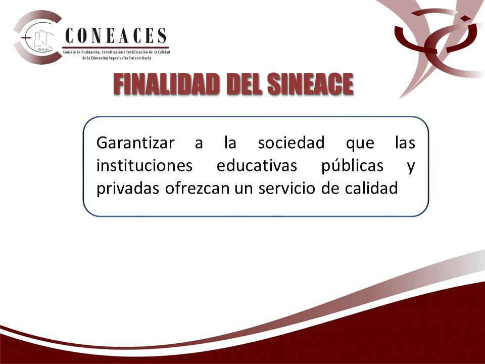 Garantizar a la sociedad que las instituciones educativas públicas y privadas ofrezcan un servicio de calidad FINALIDAD DEL SINEACE