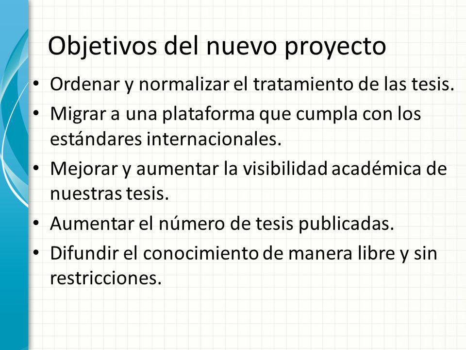 Objetivos del nuevo proyecto Ordenar y normalizar el tratamiento de las tesis. Migrar a una plataforma que cumpla con los estándares internacionales.