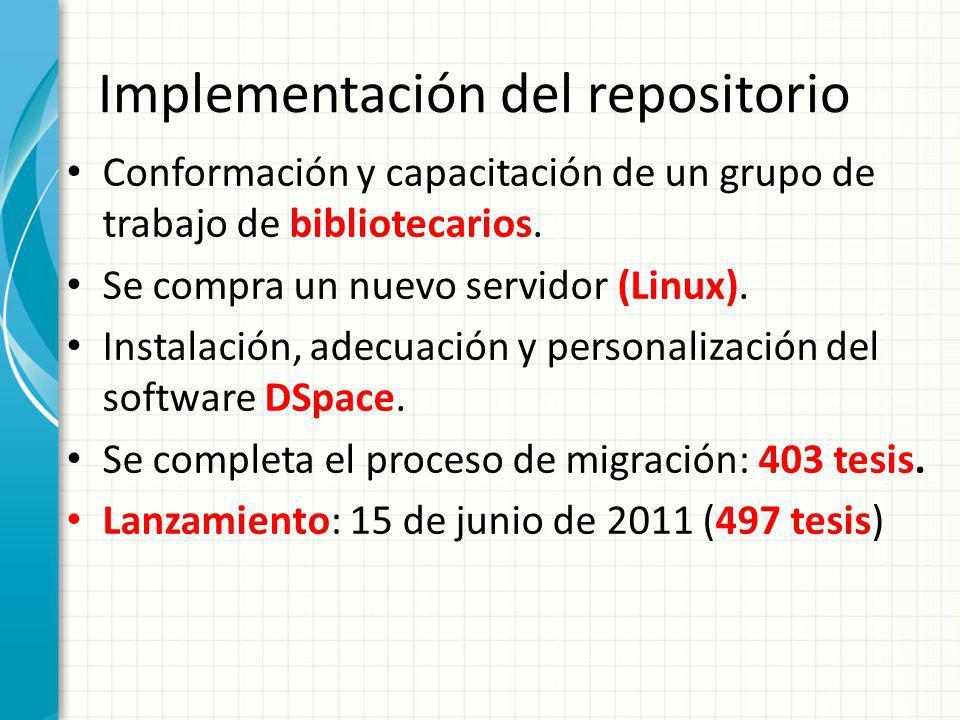 Implementación del repositorio Conformación y capacitación de un grupo de trabajo de bibliotecarios. Se compra un nuevo servidor (Linux). Instalación,