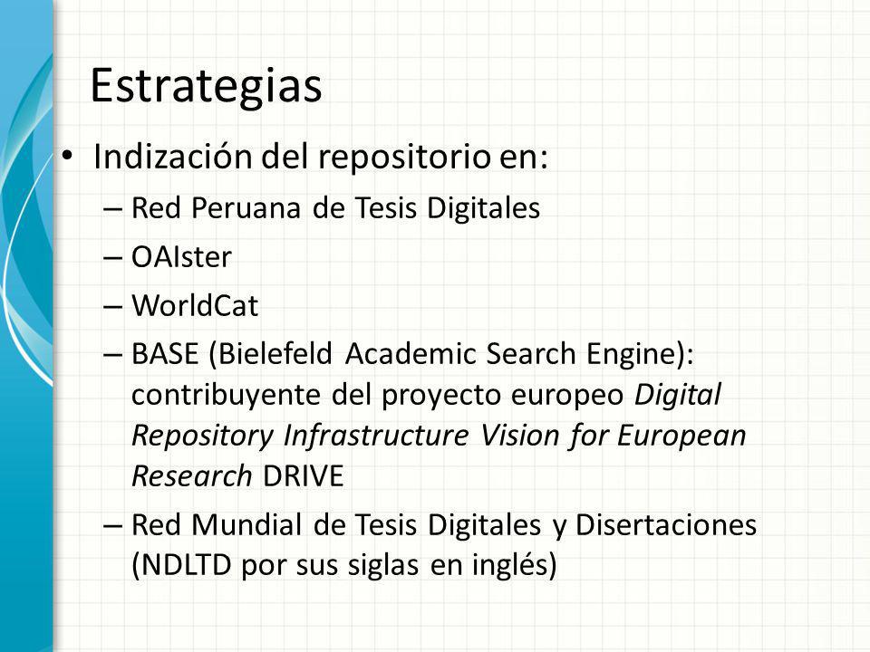 Estrategias Indización del repositorio en: – Red Peruana de Tesis Digitales – OAIster – WorldCat – BASE (Bielefeld Academic Search Engine): contribuye