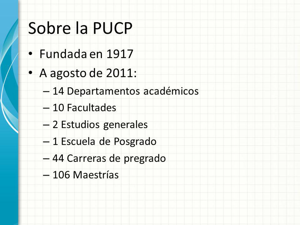Sobre la PUCP Fundada en 1917 A agosto de 2011: – 14 Departamentos académicos – 10 Facultades – 2 Estudios generales – 1 Escuela de Posgrado – 44 Carr
