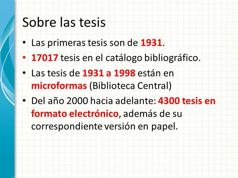 Sobre las tesis Las primeras tesis son de 1931. 17017 tesis en el catálogo bibliográfico. Las tesis de 1931 a 1998 están en microformas (Biblioteca Ce