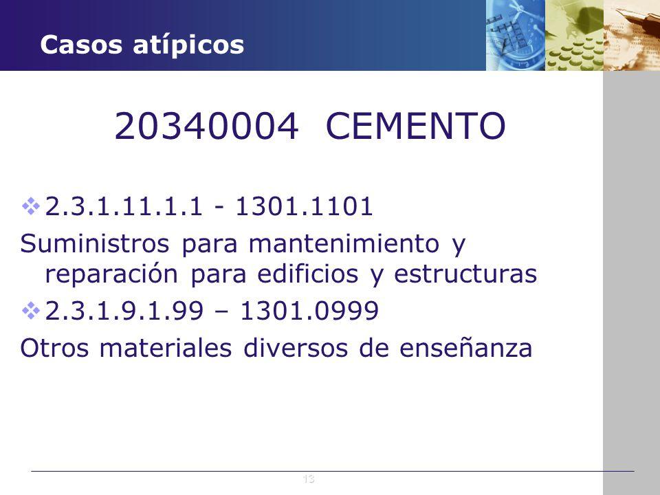 Casos atípicos 20340004 CEMENTO 2.3.1.11.1.1 - 1301.1101 Suministros para mantenimiento y reparación para edificios y estructuras 2.3.1.9.1.99 – 1301.