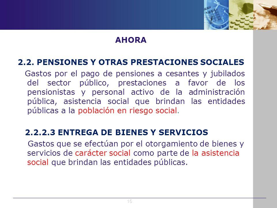 AHORA 2.2. PENSIONES Y OTRAS PRESTACIONES SOCIALES Gastos por el pago de pensiones a cesantes y jubilados del sector público, prestaciones a favor de