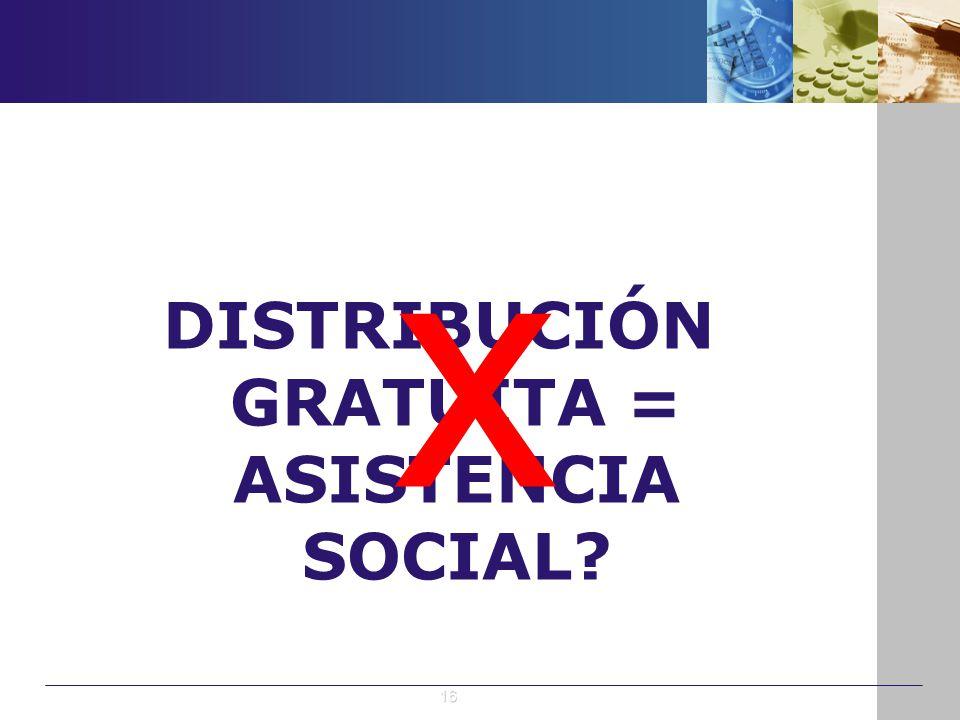 DISTRIBUCIÓN GRATUITA = ASISTENCIA SOCIAL? x 16
