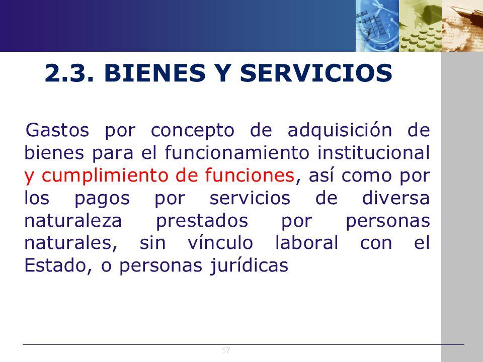 2.3. BIENES Y SERVICIOS Gastos por concepto de adquisición de bienes para el funcionamiento institucional y cumplimiento de funciones, así como por lo