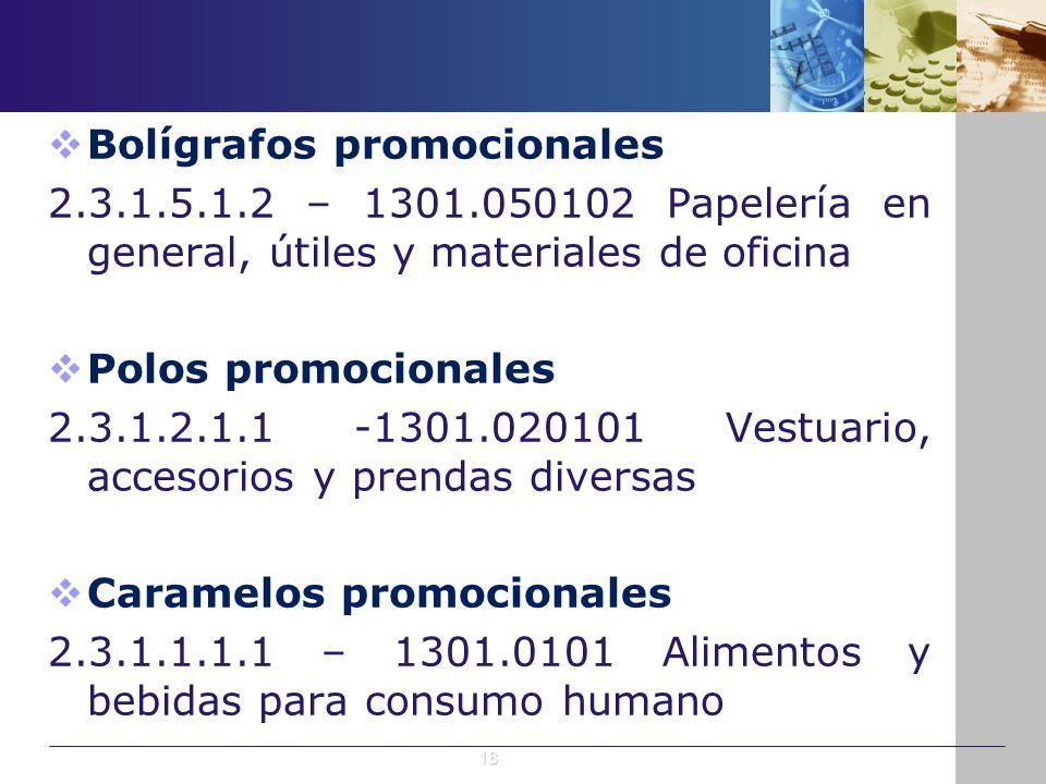Bolígrafos promocionales 2.3.1.5.1.2 – 1301.050102 Papelería en general, útiles y materiales de oficina Polos promocionales 2.3.1.2.1.1 -1301.020101 V