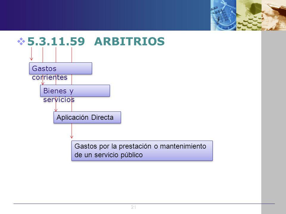 5.3.11.59 ARBITRIOS Gastos corrientes Bienes y servicios Aplicación Directa Gastos por la prestación o mantenimiento de un servicio público 21