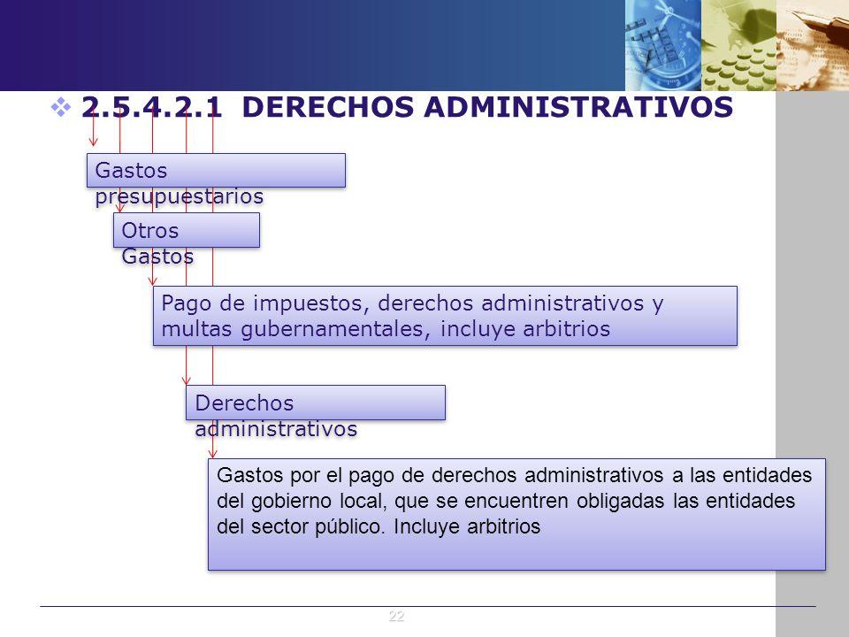 2.5.4.2.1 DERECHOS ADMINISTRATIVOS Gastos presupuestarios Otros Gastos Pago de impuestos, derechos administrativos y multas gubernamentales, incluye a