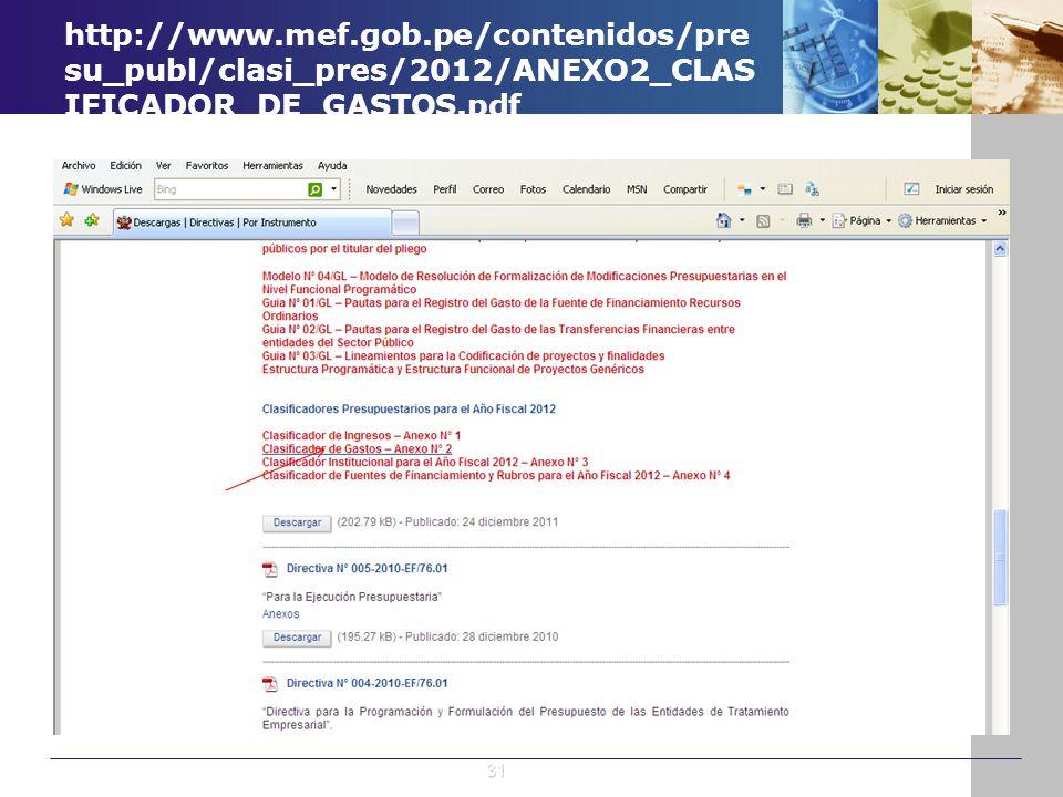 http://www.mef.gob.pe/contenidos/pre su_publ/clasi_pres/2012/ANEXO2_CLAS IFICADOR_DE_GASTOS.pdf 31
