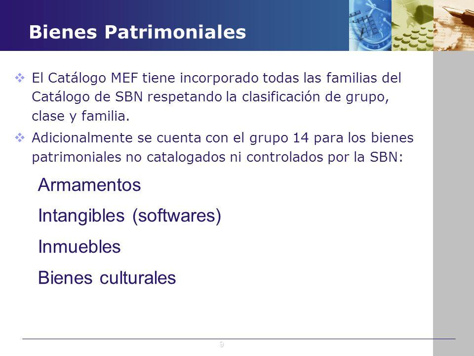 Bienes Patrimoniales El Catálogo MEF tiene incorporado todas las familias del Catálogo de SBN respetando la clasificación de grupo, clase y familia. A