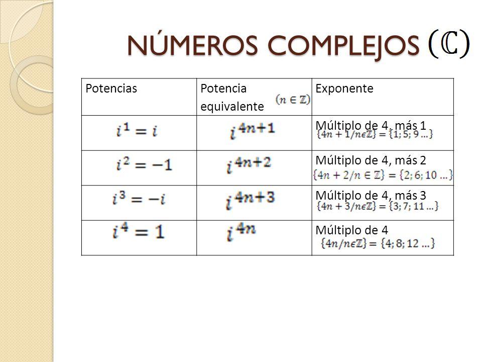 NÚMEROS COMPLEJOS Potencias Potencia equivalente Exponente Múltiplo de 4, más 1 Múltiplo de 4, más 2 Múltiplo de 4, más 3 Múltiplo de 4