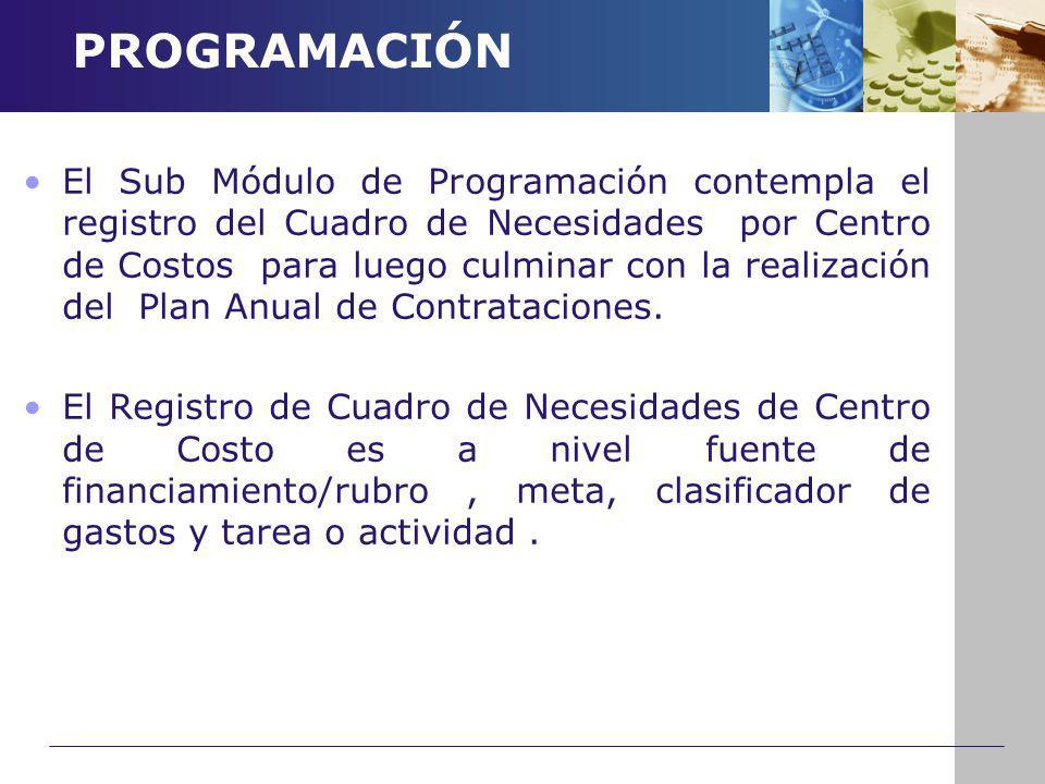 PROGRAMACIÓN El Sub Módulo de Programación contempla el registro del Cuadro de Necesidades por Centro de Costos para luego culminar con la realización