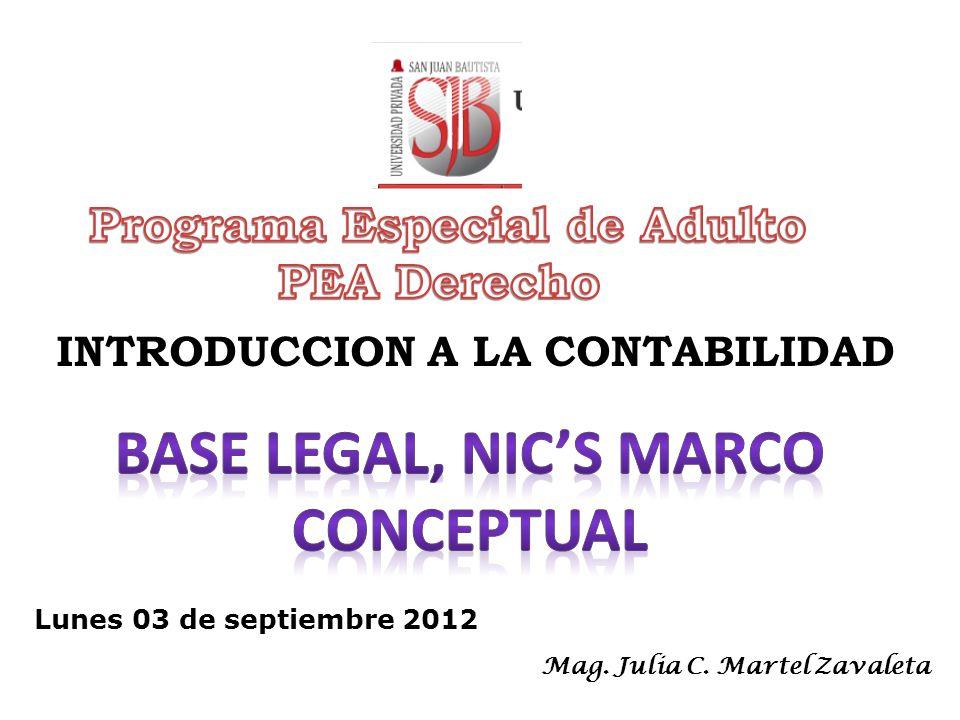 INTRODUCCION A LA CONTABILIDAD Lunes 03 de septiembre 2012 Mag. Julia C. Martel Zavaleta