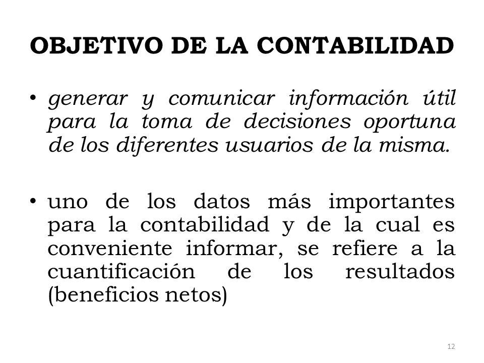 OBJETIVO DE LA CONTABILIDAD generar y comunicar información útil para la toma de decisiones oportuna de los diferentes usuarios de la misma. uno de lo