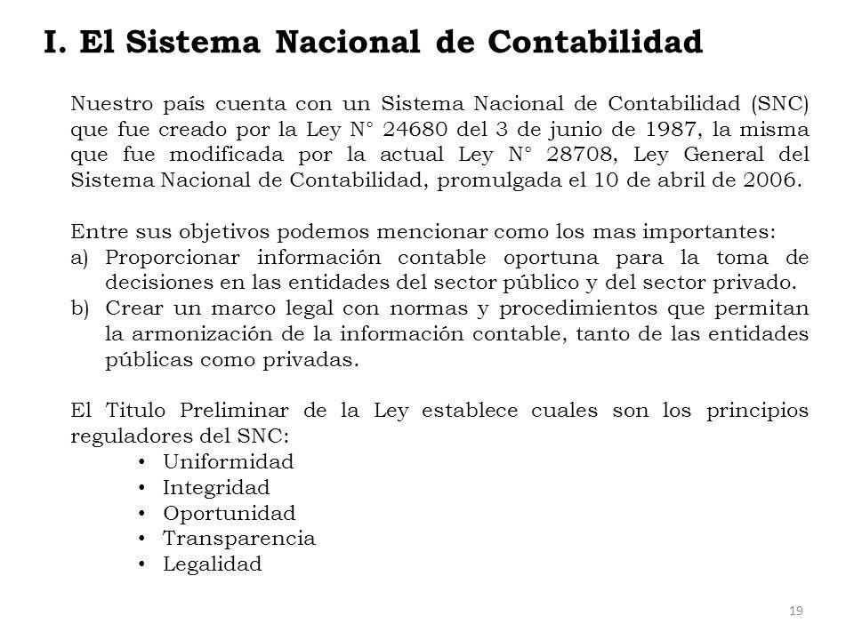 I. El Sistema Nacional de Contabilidad Nuestro país cuenta con un Sistema Nacional de Contabilidad (SNC) que fue creado por la Ley N° 24680 del 3 de j