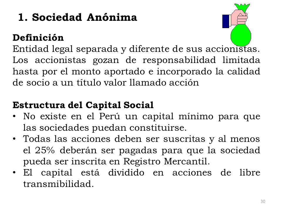 1. Sociedad Anónima Definición Entidad legal separada y diferente de sus accionistas. Los accionistas gozan de responsabilidad limitada hasta por el m