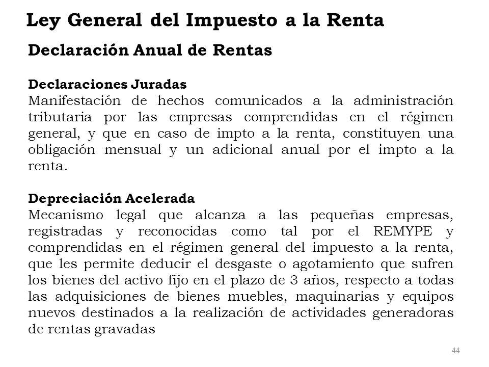 Ley General del Impuesto a la Renta Declaración Anual de Rentas Declaraciones Juradas Manifestación de hechos comunicados a la administración tributar