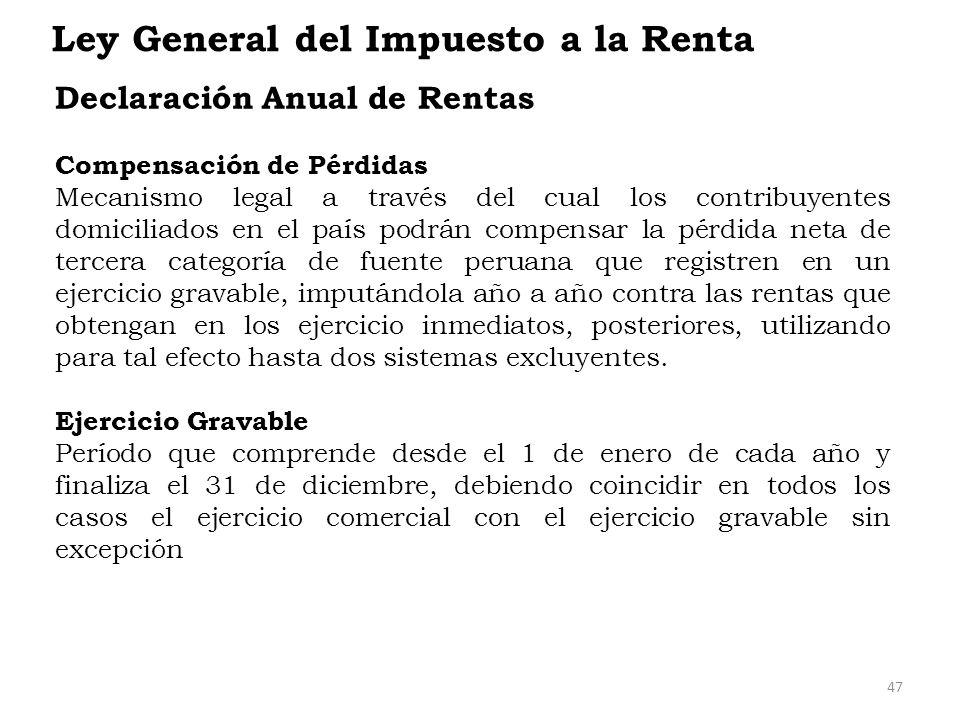 Ley General del Impuesto a la Renta Declaración Anual de Rentas Compensación de Pérdidas Mecanismo legal a través del cual los contribuyentes domicili
