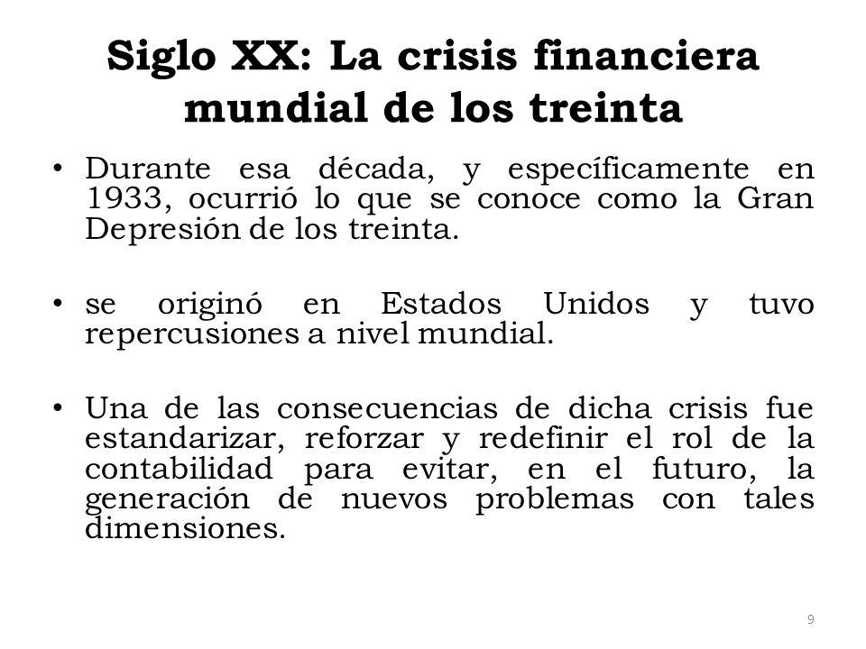 Siglo XX: La crisis financiera mundial de los treinta Durante esa década, y específicamente en 1933, ocurrió lo que se conoce como la Gran Depresión d