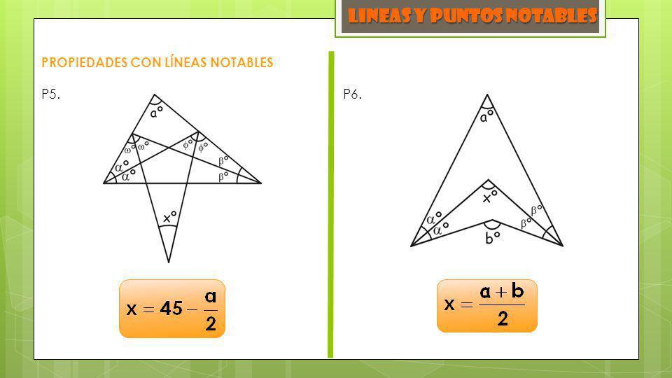 LINEAS y PUNTOS NOTABLES PROPIEDADES CON LÍNEAS NOTABLES P5. P6.