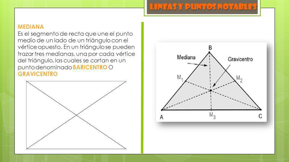 MEDIANA Es el segmento de recta que une el punto medio de un lado de un triángulo con el vértice opuesto. En un triángulo se pueden trazar tres median