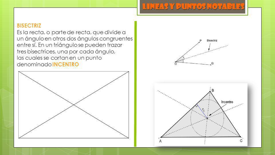 LINEAS y PUNTOS NOTABLES BISECTRIZ Es la recta, o parte de recta, que divide a un ángulo en otros dos ángulos congruentes entre sí. En un triángulo se