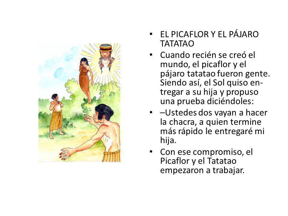 EL PICAFLOR Y EL PÁJARO TATATAO Cuando recién se creó el mundo, el picaflor y el pájaro tatatao fueron gente.